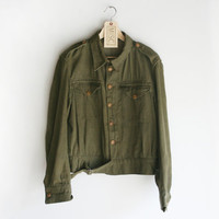 Hold for Bea - Vintage J. Harvey Limited Green Denim Women's Army Jacket, 1955