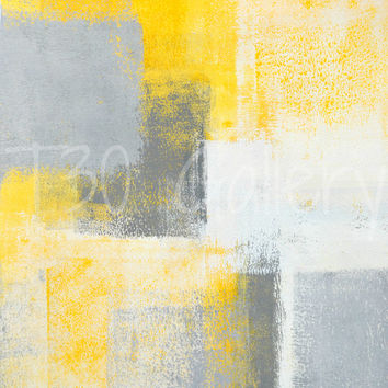 Ice box, grey and yellow abstract art painting