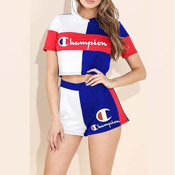 ChampionNewest Hot Sale Woman Fashion Print Short Sleeve Top Shorts Set Two Piece Sportswear