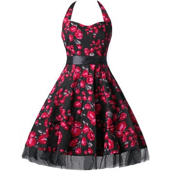 OWIN Vintage Vestidos 2017 Dress Women Plus Size Floral Print Strappy Halter 1950s Rockabilly Retro Party Dresses XXL XXXL