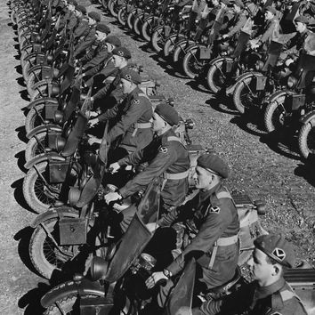 WWII Motorcycle Dispatch Riders Reproduction Photograph 8x10 inch