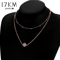 17KM Boho Natural Crystal Choker Necklaces for Women 2017 Multicolor Beads Double Layer Necklace Collier Chain Party Jewelry