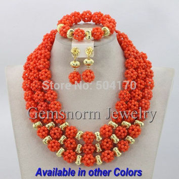 Luxury Pink Coral Beads Wedding Jewelry Set Gold Plated Indian Bridal Jewelry Set African Beads Set CNR173