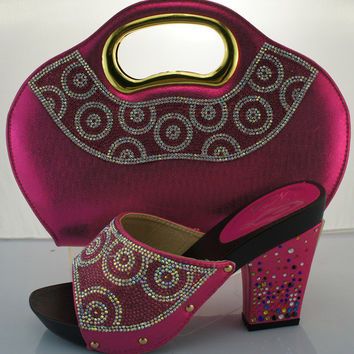 Most Popular shoe and bag set with rhinestones