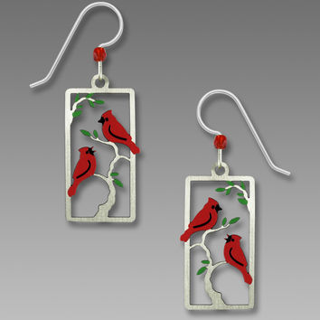 Sienna Sky Earrings - Northern Red Cardinals on Tree Branches