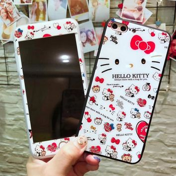 For iPhone X Cute Hello kitty case + Tempered Glass Screen film For iphone 8 8plus 7 7plus 6 6s 6Splus Cat pooh cartoon case