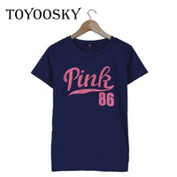 New Fashion T-shirt Women Pink 86 Letter Printing T Shirt Women Tops Casual Brand Tee Shirt Femme Woman Clothing