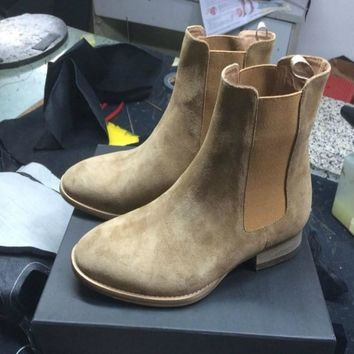 Nice Spl Style New Chelsea Boots Sharp Toe Kanye West Boots Genuine Leather 1:1 Fishion Life Style Euro And America  Mid Heel GD
