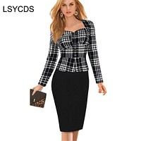 2018 New Women Spring Autumn Wear Faux Two Piece Dress Lady Elegant Solid Long Sleeve Bandage Slip Sheath Work Office Dresses