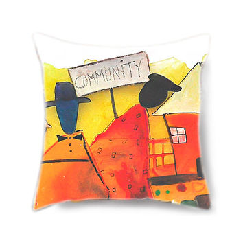 Decorative pillow cover, painted pillow, decorative pillow, orange pillow, pillow cover, pillow for couch, colorful art, family reunion art