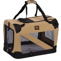PET LIFE, Khaki 360 Degree Vista-View Soft Folding Collapsible Crate - SM, H2KHSM at The Home Depot - Tablet