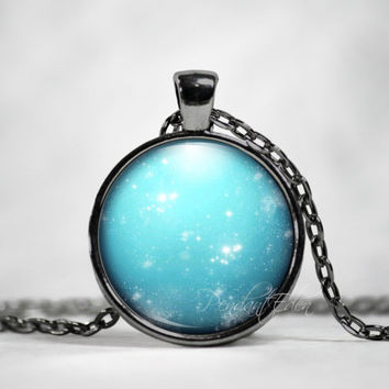 Planet Uranus Necklace Pendant Jewelry Space, Galaxy, Celestial, Solar System,Pastel