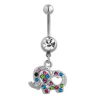 316 L Elephant Belly Ring Cute Dangle Belly Button Rings Sexy Women Stainless Surgical Steel Crystal