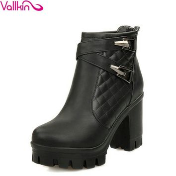 Ankle High Double Buckles Thick Round Toe Square Medium High Heels Women's Winter Boots