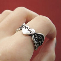Womens Girls Vintage 2PCS Love Old Ring Uniquering-110