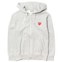 Cotton Back Pile Red Emblem Zip Hoodie Gray