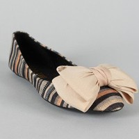 Gianna-4 Bow Striped Round Toe Ballet Flat