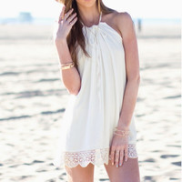 Boho Women Hippie Sexy Lace Sleeveless Halter Summer Beach Loose Top Mini Shirt Cocktail Dress Sundress S M L = 5658717569