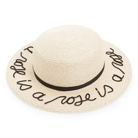 Eugenia Kim 'Brigitte - A Rose is a Rose is a Rose' Hemp & Cotton Boater Hat | Nordstrom