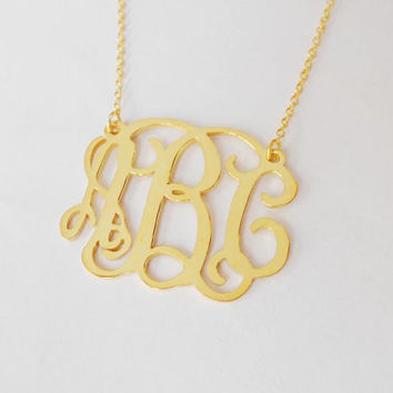 1 inch Monogram Necklace,Gold Monogram Necklace,3 Initials Necklace Charm,Personalized Name Necklace 18K Gold Plated,Bridesmaids Gift
