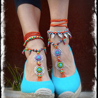 Orange GYPSY summer BAREFOOT SANDALS soleless sandals beach wedding rainbow dance Anklet foot jewelry bohemian Statement shoes unique