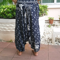 Aladdin Drop Crotch Yoga Pants Harem Boho Printed Sarongs Fisherman Tribal Hippie Massage Rayon pants Gypsy Thai Handmade Tie Plus Size Men