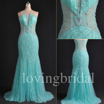 Long Mint Lace Prom Dresses See Through Party Dresses Beaded Evening Dresses Homecoming Dresses 2014 New Fashion