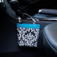CAR CELLPHONE CADDY, Black Damask, Cell Phone Holder, Sunglasses Case, Beach Chair Holder, Mobile Accessories, Golf Gift, Smartphone Case