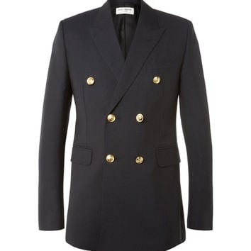 Saint Laurent - Blue Slim-Fit Double-Breasted Wool and Mohair-Blend Blazer