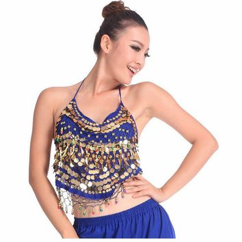 Hot selling on Sale Cheap Coins Sexy Belly Dance Top Size Bra for Women 11 Colors Available