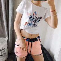 """ADIDAS"" Women Casual Print Flower Short Sleeve Shorts Two Piece   G-A-GHSY"