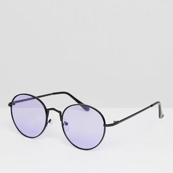 AJ Morgan Round Sunglasses With Purple Lens at asos.com