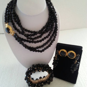 High End Vintage Black Glass Necklace Cha Cha Bracelet & 2 Earring Set Demi Parure Rockabilly Costume Mid Century Jewelry 1950's 1960's