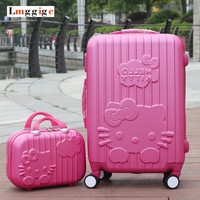 "Hello Kitty Luggage set,Candy color KT Suitcase,ABS material Carry-Ons,20 ""&24"" traveling box ,Trolley Travel bag+Cosmetic Case"