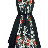 Hemet Women's Skeletons and Roses Full Circle Dress