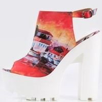 Wild Diva Lounge City Print Lug Sole Heels