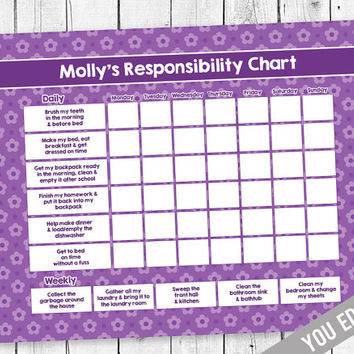 Chore chart, Teen Chore Chart, Incentive Chart, Allowance Chart, Weekly Chart, Behavior Chart, Purple Flower Chore Chart, YOU EDIT PDF