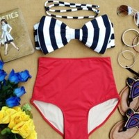 Maddie Bow High Waist Swimsuit - Black and White Striped Bow Top and Red Bottoms - Smoky Mountain Boutique
