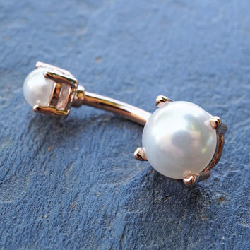 Rose Gold Pearl Belly Button Ring