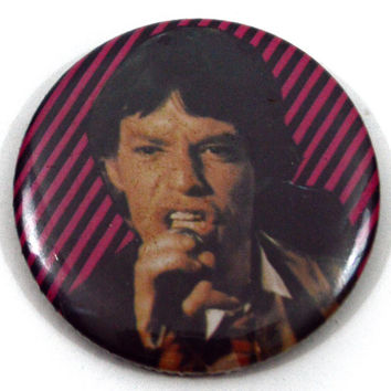 Vintage 80s Mick Jagger Diagonal New Wave Lines Badge Pinback Button Pin