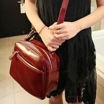 New Cute Messenger Bags Candy Color Across The Shoulder Small Bag Satchel Zipper Vintage Portable Leather Bags