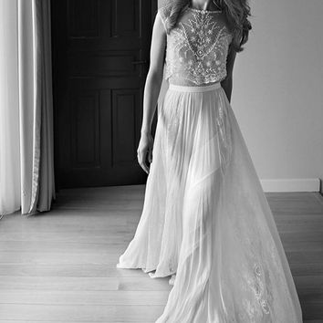 2016 Lihi Hod Two Pieces Wedding Dress Sweetheart Cap Sleeve Pearls Beading Lace Chiffon Boho Bohemian Beach Wedding Gowns