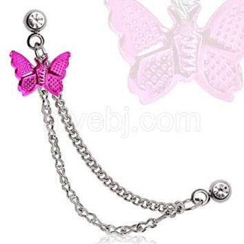 316L Surgical Steel Double Chained Cartilage Earring with Hot Pink Butterfly Dangle
