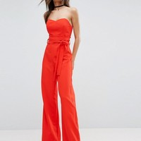 ASOS Bandeau Jumpsuit with Paperbag Waist Detail at asos.com