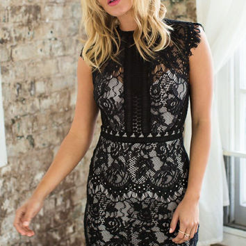 Black Cap Sleeved High Round Neckline Mini Lace Dress