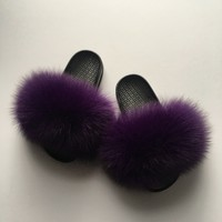 Kids Fox fur slides purple kids fur slippers toddler fur sandals