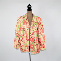 Plus Size 18 Jacket Women Rayon Linen Floral Jacket Spring Jacket Tropical Print Jacket Plus Size Clothing Vintage Clothing Womens Clothing