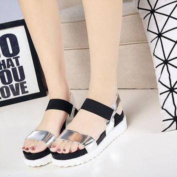 Women sandals Women Summer Shoes Peep-toe Flats Shoes