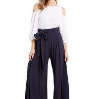 Women's Solid Textured Wide Leg Flare Box Pleat Palazzo High Tie Waist Pants