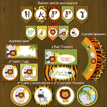 Safari Zoo Jungle Wild Animals Printable Birthday Package - Safari Birthday Party DIY Set - invitation, cupcake toppers, placemat